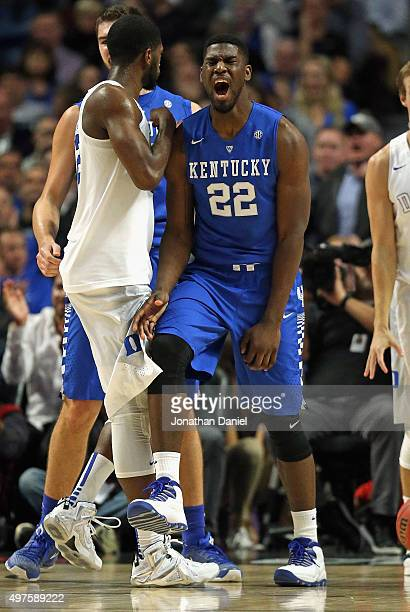 Alex Poythress of the Kentucky Wildcats reacts after hitting a shot and getting fouled against the Duke Blue Devils during the Champions Classic at...