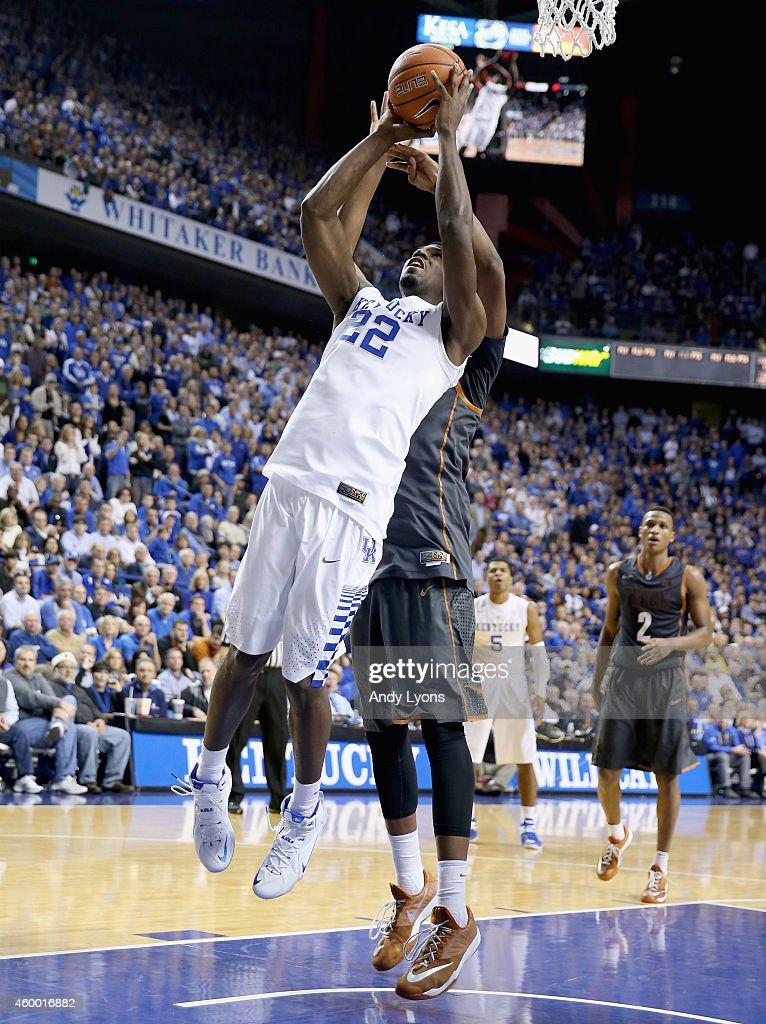 Alex Poythress #22 of the Kentucky Wildcats shoots the ball during the game against the Texas Longhorns at Rupp Arena on December 5, 2014 in Lexington, Kentucky.