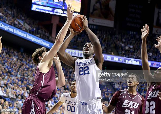 Alex Poythress of the Kentucky Wildcats shoots the ball during the game against the Eastern Kentucky Colonels at Rupp Arena on December 9 2015 in...