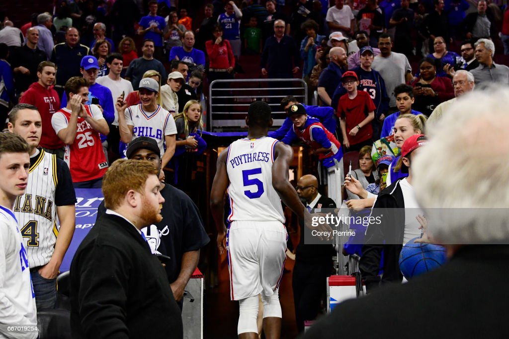 Alex Poythress #5 of the Philadelphia 76ers runs into the locker room after the game with the Indiana Pacers at the Wells Fargo Center on April 10, 2017 in Philadelphia, Pennsylvania. The Pacers won 120-111.