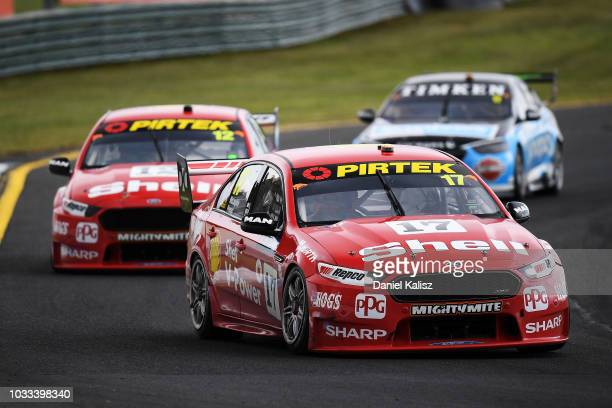 Alex Premat drives the Shell VPower Racing Team Ford Falcon FGX during qualifying race for grid 1 for the Supercars Sandown 500 at Sandown...