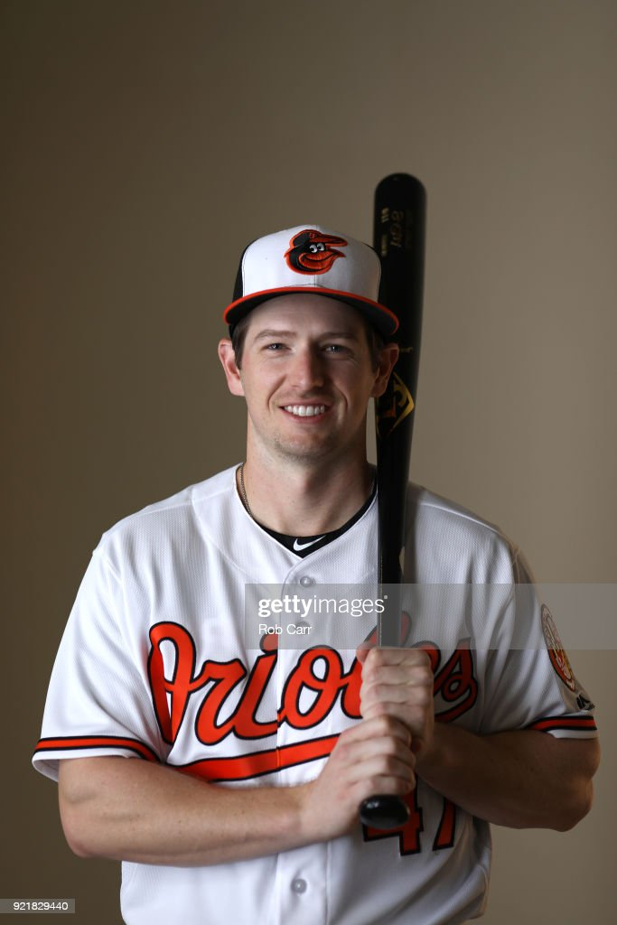 Alex Presley #47 of the Baltimore Orioles poses for a photo during photo days at Ed Smith Stadium on February 20, 2018 in Sarasota, FL.