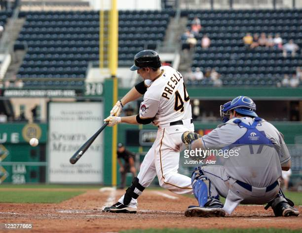 Alex Presley of the Pittsburgh Pirates hits a two run home run in the bottom of the ninth against the Los Angeles Dodgers on September 1 2011 at PNC...