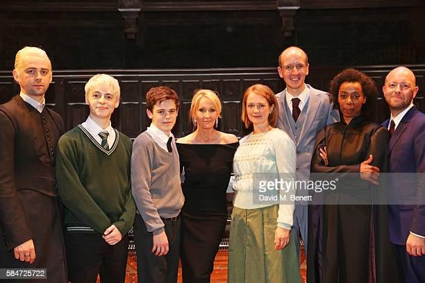 Alex Price Anthony Boyle Sam Clemmett JK Rowling Poppy Miller Jack Thorne Noma Dumezweni and director John Tiffany attends the press preview of...