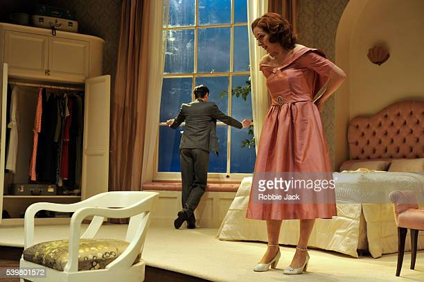 Alex Price as David Marshall and Katherine Parkinson as Laura Whittingham in Rodney Ackland's Before the Party directed by Matthew Dunster at the...