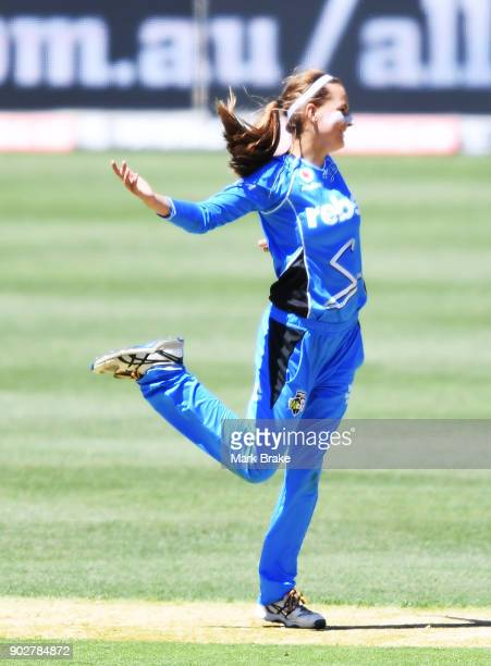Alex Price of the Adelaide Strikers celebrates after taking the wicket of Lizelle Lee of the Melbourne Stars during the Women's Big Bash League match...