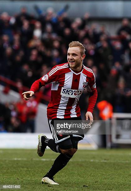 Alex Pritchard of Brentford celebrates scoring his sides second goal during the Sky Bet Championship match between Brentford and AFC Bournemouth at...