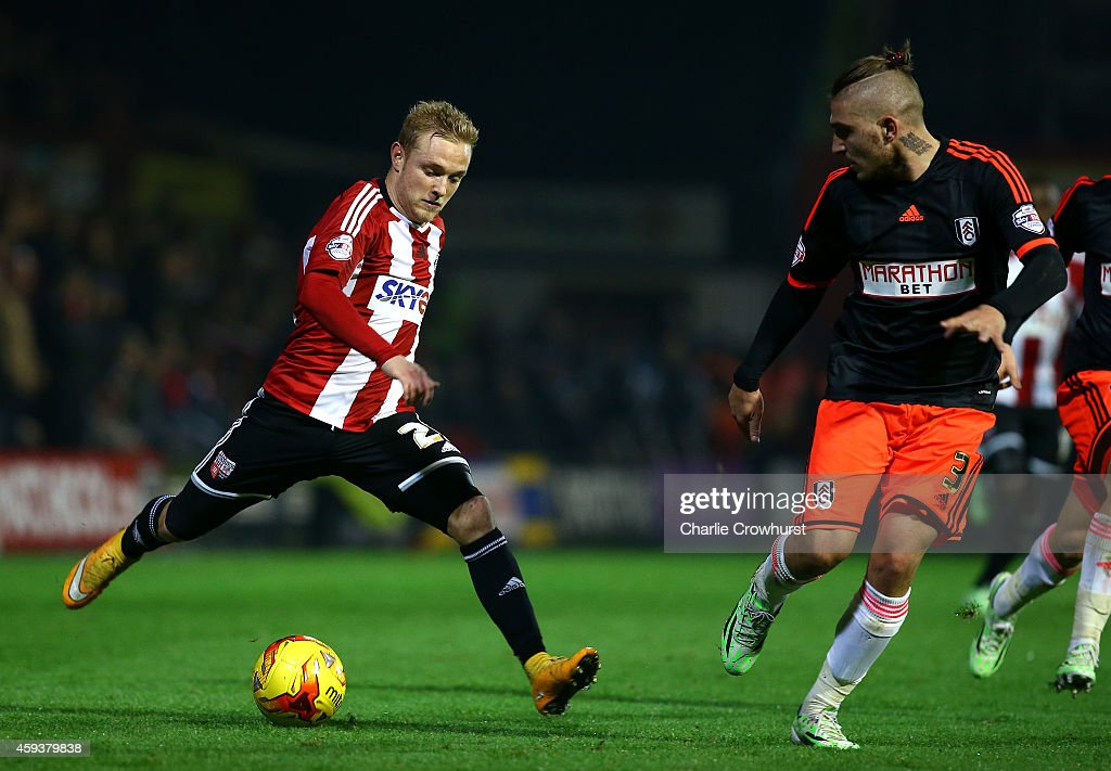 Alex Pritchard of Brentford looks to attack during the Sky Bet Championship match between Brentford and Fulham at Griffin Park on November 21, 2014 in Brentford, England,