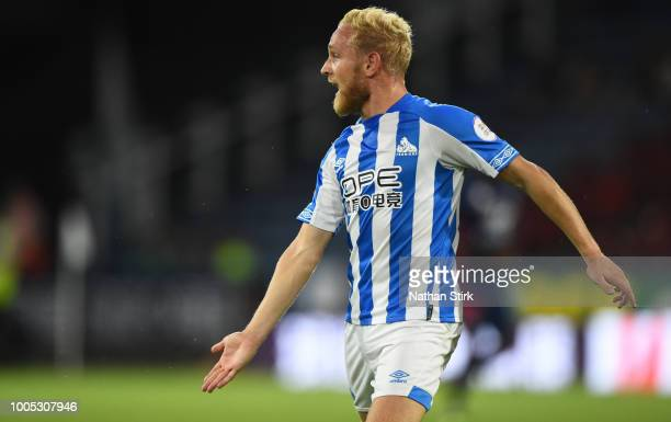 Alex Pritchard of Huddersfield shouts for the ball during a preseason friendly match between Huddersfield Town and Olympique Lyonnais at John Smith's...