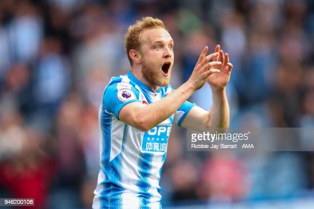 Alex Pritchard of Huddersfield Town reacts during the Premier League match between Huddersfield Town and Watford at John Smith's Stadium on April 14...
