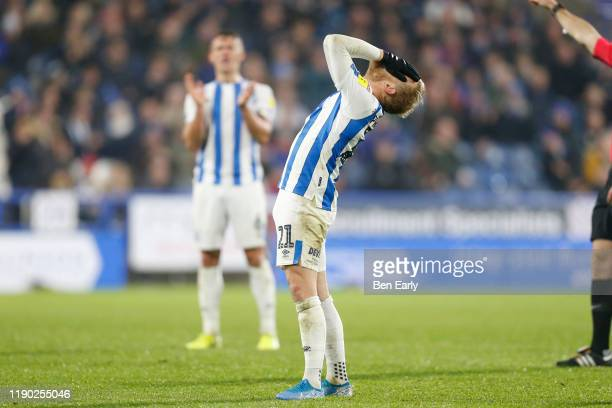 Alex Pritchard of Huddersfield Town reacts to having his free kick saved during the Sky Bet Championship match between Huddersfield Town and Swansea...