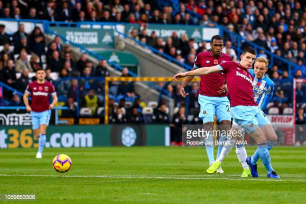 Alex Pritchard of Huddersfield Town scores a goal to make it 10 during the Premier League match between Huddersfield Town and West Ham United at John...