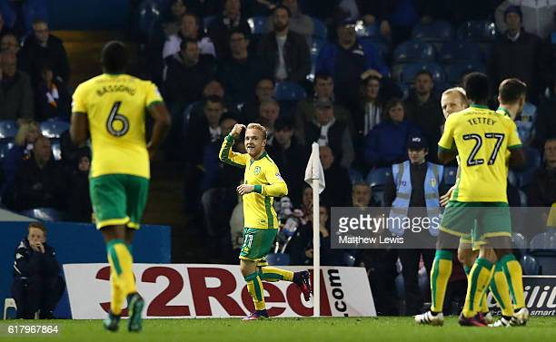 Alex Pritchard of Norwich City celebrates scoring his sides first goal during the EFL Cup fourth round match between Leeds United and Norwich City at...
