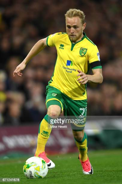 Alex Pritchard of Norwich City in action during the Sky Bet Championship match between Norwich City and Brighton Hove Albion at Carrow Road on April...