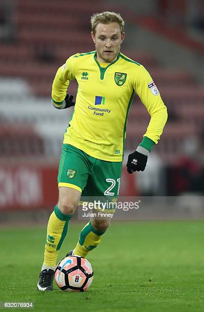 Alex Pritchard of Norwich in action during The Emirates FA Cup Third Round Replay match between Southampton and Norwich City at St Mary's Stadium on...