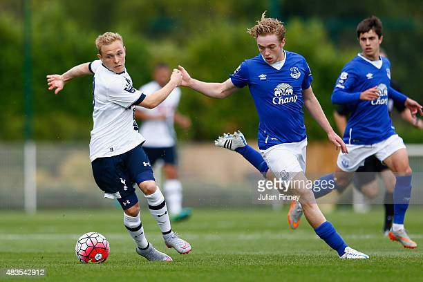 Alex Pritchard of Spurs in action with Tom Davies of Everton during the Barclays U21 Premier League match between Tottenham Hotspur U21 and Everton...