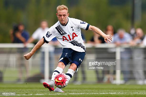Alex Pritchard of Spurs scores from a free kick to make it 10 during the Barclays U21 Premier League match between Tottenham Hotspur U21 and Everton...