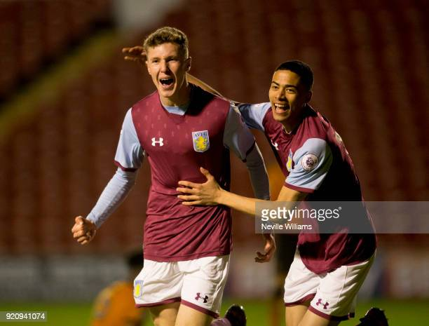 Alex Prosser of Aston Villa scores for Aston Villa during the Premier League 2 match between Aston Villa and Wolverhampton Wanderers at Banks'...