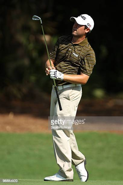 Alex Prugh watches a shot on the second hole during the first round of THE PLAYERS Championship held at THE PLAYERS Stadium course at TPC Sawgrass on...