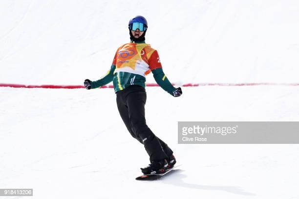 Alex Pullin of Australia celebrates winning the Men's Snowboard Cross Semifinal 1 on day six of the PyeongChang 2018 Winter Olympic Games at Phoenix...
