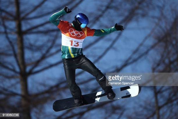Alex Pullin of Australia competes during the Men's Snowboard Cross Seeding on day six of the PyeongChang 2018 Winter Olympic Games at Phoenix Snow...