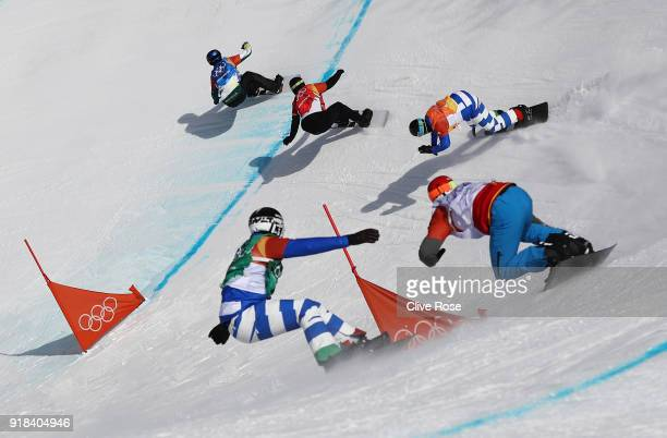Alex Pullin of Australia leads the pack during the Men's Snowboard Cross 1/8 Final on day six of the PyeongChang 2018 Winter Olympic Games at Phoenix...