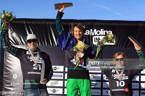 Alex Pullin of Australia takes 1st place Seth Westcott of the USA takes 2nd place Nate Holland of the USA takes 3rd place during the FIS Snowboard...