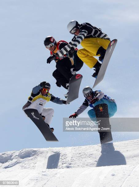 Alex Pullin of Australia takes 2nd place during the LG Snowboard FIS World Cup Men's Snowboardercross on March 19 2010 in La Molina Spain