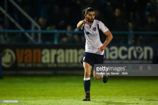 Alex Purver of Guisley celebrates after scoring a goal to make it 12 during The Emirates FA Cup Second Round match between Guisley and Fleetwood Town...