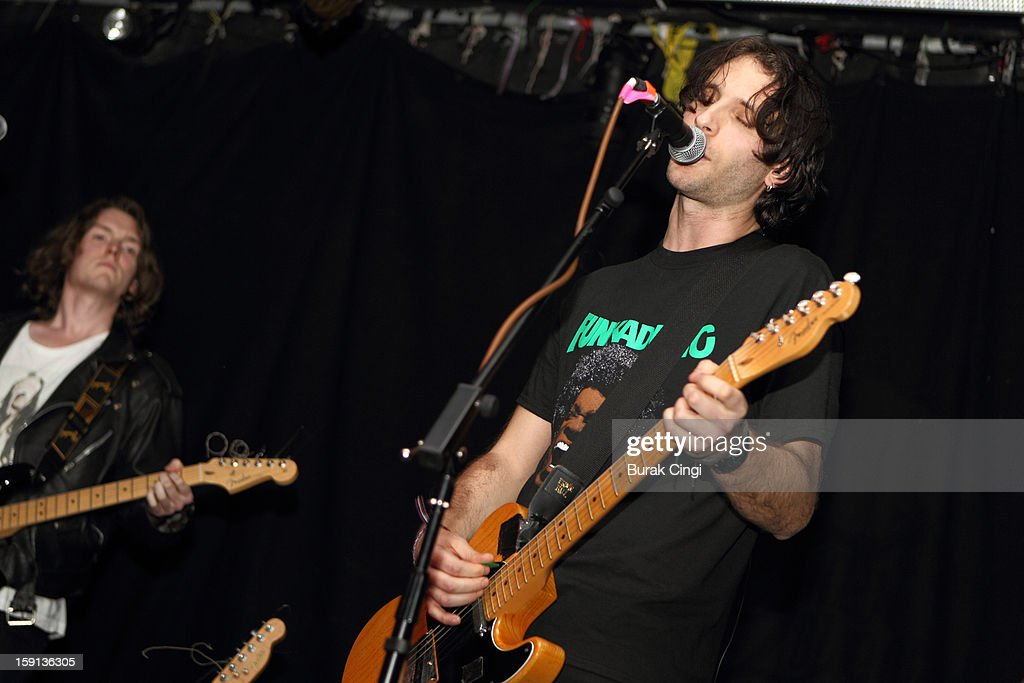 Alex Pyper and Stef Bernardi of Whales in Cubicles perform on stage on day one of Artrocker Magazine's New Blood Festival at Hoxton Square Bar And Kitchen on January 8, 2013 in London, England.