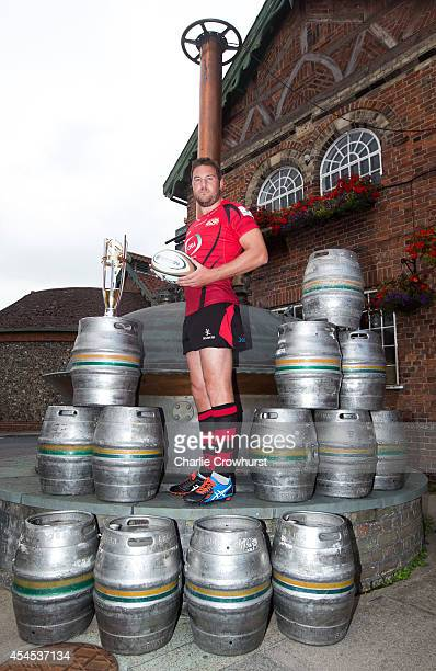 Alex Rae of Jersey RFC poses for a photo during the 2014/15 Greene King IPA Championship Captains photocall at Greene King IPA brewery on September...