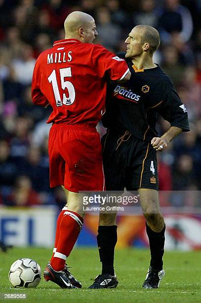 Alex Rae of Wolves argues with Danny Mills of Midlesbrough during the FA Barclaycard Premiership game between Middlesbrough and Wolverhampton...