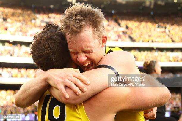 Alex Rance and Jack Riewoldt of the Tigers celebrate victory during the 2017 AFL Grand Final match between the Adelaide Crows and the Richmond Tigers...