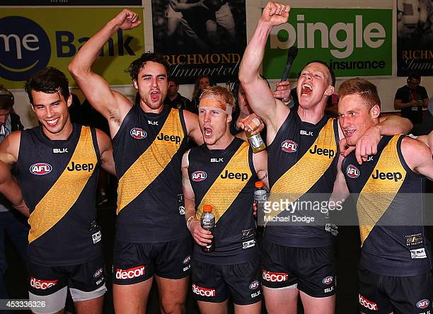 Alex Rance Ben Griffiths Steven Morris Jack Riewoldt and Nick Vlastuin of the Tigers celebrate their win during the round 20 AFL match between the...