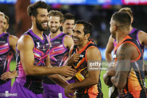 Alex Rance of the flyers team with Eddie Betts of the Deadly team after their match during the 2019 AFLX at Marvel Stadium on February 22 2019 in...