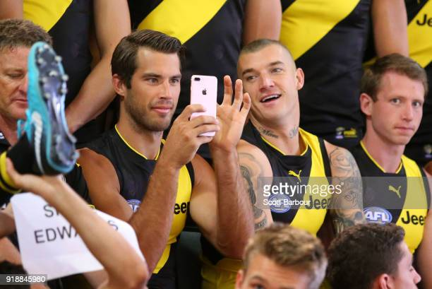 Alex Rance of the Tigers and Dustin Martin of the Tigers look on during a Richmond Tigers AFL team photo session at Punt Road Oval on February 16...