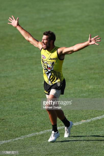 Alex Rance of the Tigers calls for the ball during a Richmond Tigers AFL training session at Punt Road Oval on February 02 2019 in Melbourne Australia