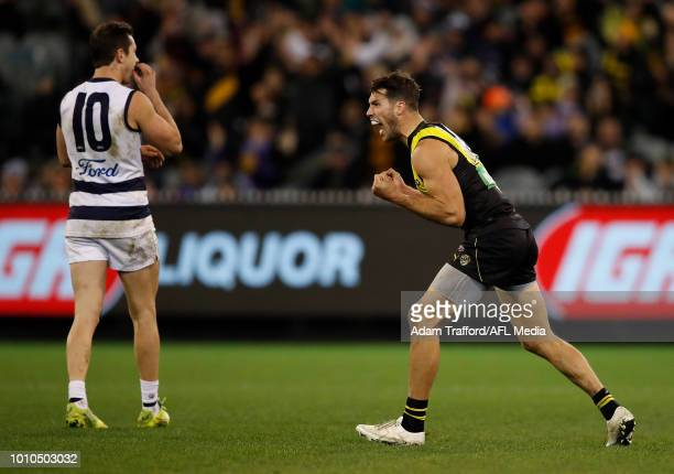 Alex Rance of the Tigers celebrates on the final siren during the 2018 AFL round 20 match between the Richmond Tigers and the Geelong Cats at the...