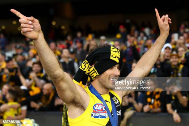 Alex Rance of the Tigers celebrates victory during the 2017 AFL Grand Final match between the Adelaide Crows and the Richmond Tigers at Melbourne...