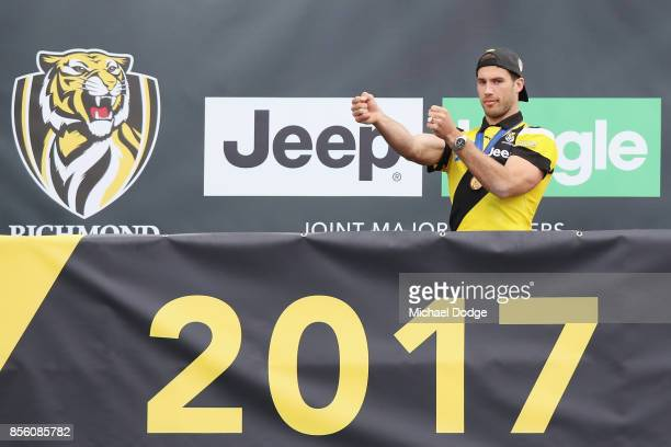 Alex Rance of the Tigers celebrates winning yesterday's AFL Grand Final at Punt Road Oval on October 1 2017 in Melbourne Australia
