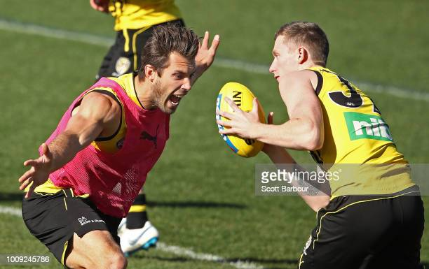 Alex Rance of the Tigers defends during a Richmond Tigers AFL training session at Punt Road Oval on August 2 2018 in Melbourne Australia