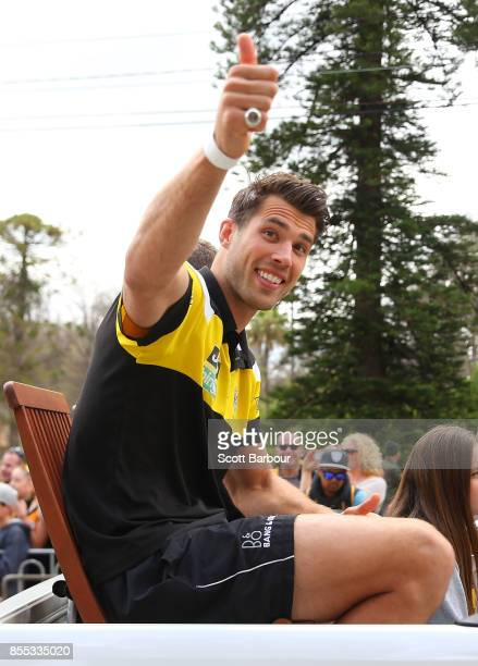 Alex Rance of the Tigers gestures to the crowd during the 2017 AFL Grand Final Parade ahead of the Grand Final between the Adelaide Crows and the...