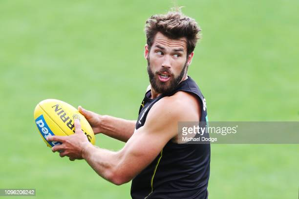 Alex Rance of the Tigers looks upfield during a Richmond Tigers AFL training session at Punt Road Oval on January 18 2019 in Melbourne Australia