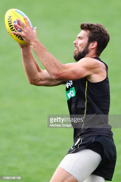Alex Rance of the Tigers marks the ball during a Richmond Tigers AFL training session at Punt Road Oval on January 18 2019 in Melbourne Australia