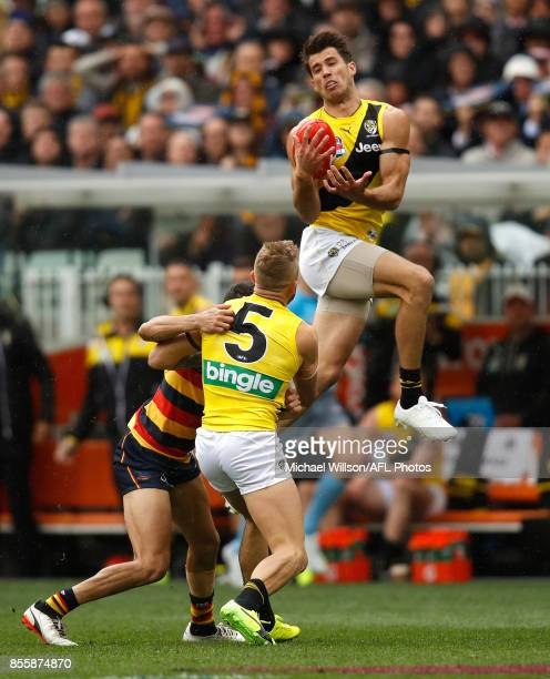 Alex Rance of the Tigers marks the ball during the 2017 Toyota AFL Grand Final match between the Adelaide Crows and the Richmond Tigers at the...