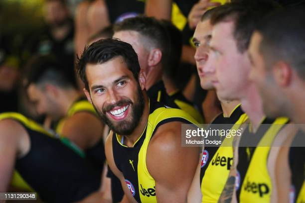 Alex Rance of the Tigers reacts during the AFL Richmond Tigers team photo session at Punt Road Oval on February 22 2019 in Melbourne Australia