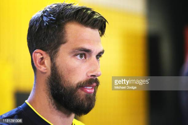 Alex Rance of the Tigers speaks to media during the AFL Richmond Tigers team photo session at Punt Road Oval on February 22 2019 in Melbourne...