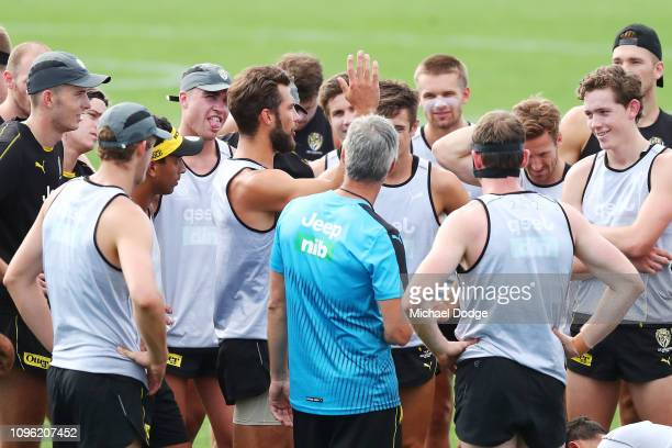 Alex Rance of the Tigers speaks to teammates during a Richmond Tigers AFL training session at Punt Road Oval on January 18 2019 in Melbourne Australia