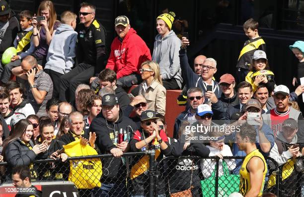 Alex Rance of the Tigers walks out to train as Tigers supporters in the crowd look on during a Richmond Tigers AFL training session at Punt Road Oval...