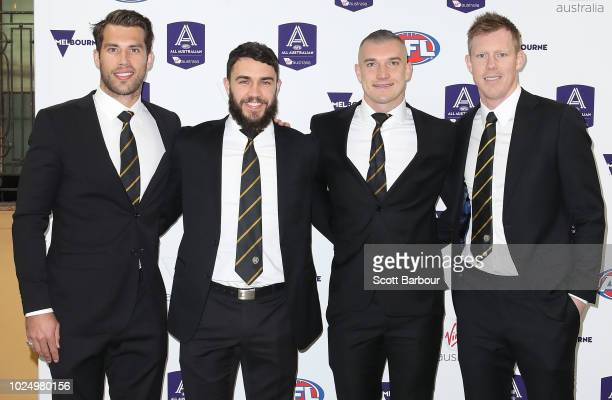 Alex Rance Shane Edwards Dustin Martin and Jack Riewoldt of the Tigers arrive during the 2018 AFL AllAustralia Awards at the Palais Theatre on August...